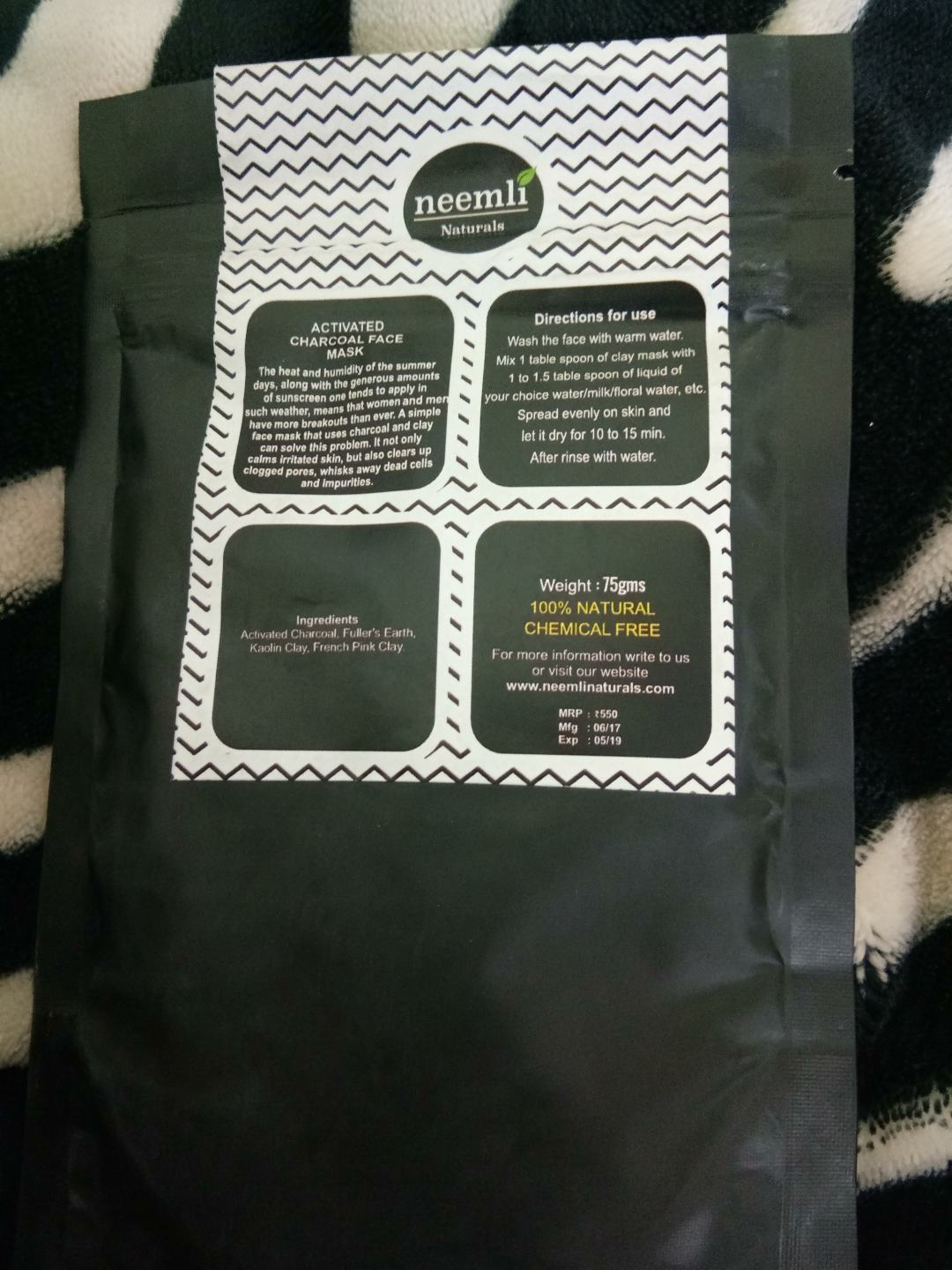 Neemli - Charcoal Face Pack in GlamEgo August 2017 Box