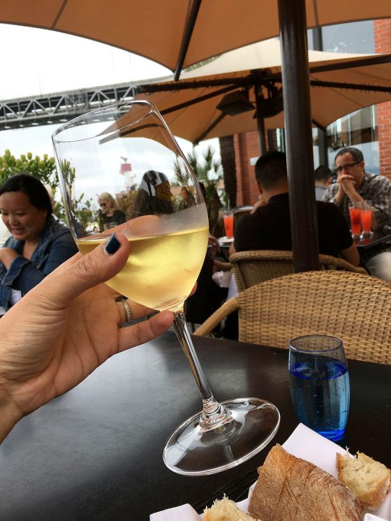 A glass of Riesling at Waterbar Restaurant on the Embarcadero