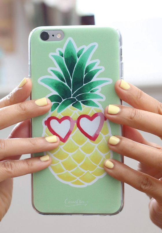 Wearing Sally Hansen Miracle Gel Nail Polish in Lemon Heaven; iPhone case from connorclaire.com