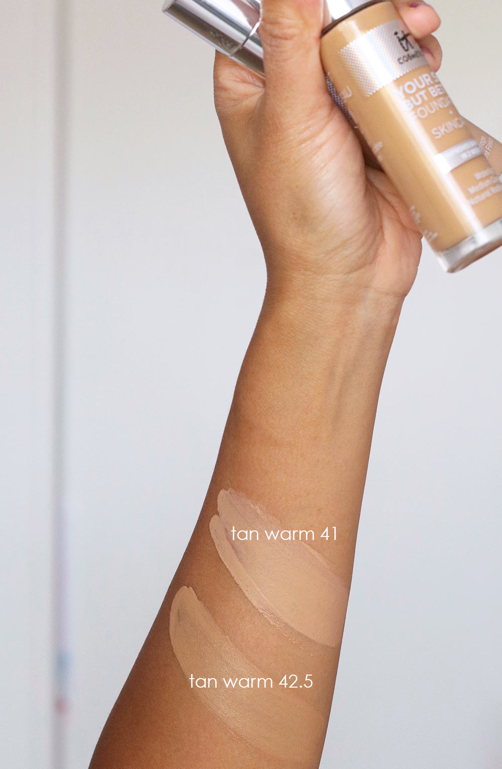 it cosmetics your skin but better foundation skin care swatches tan warm