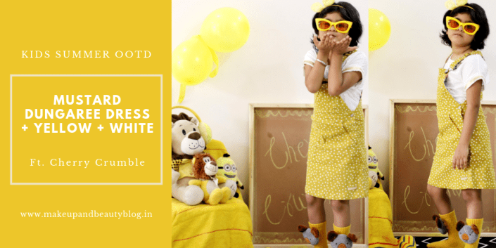 Kids Summer OOTD: Mustard Dungaree Dress + Yellow + White – Cherry Crumble