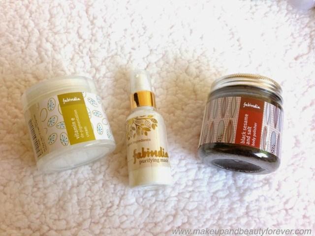Fabindia Vitamin e De-pigmentation cream Fabindia Purifying Mask Fabindia Black sesame and Salt Body Polisher