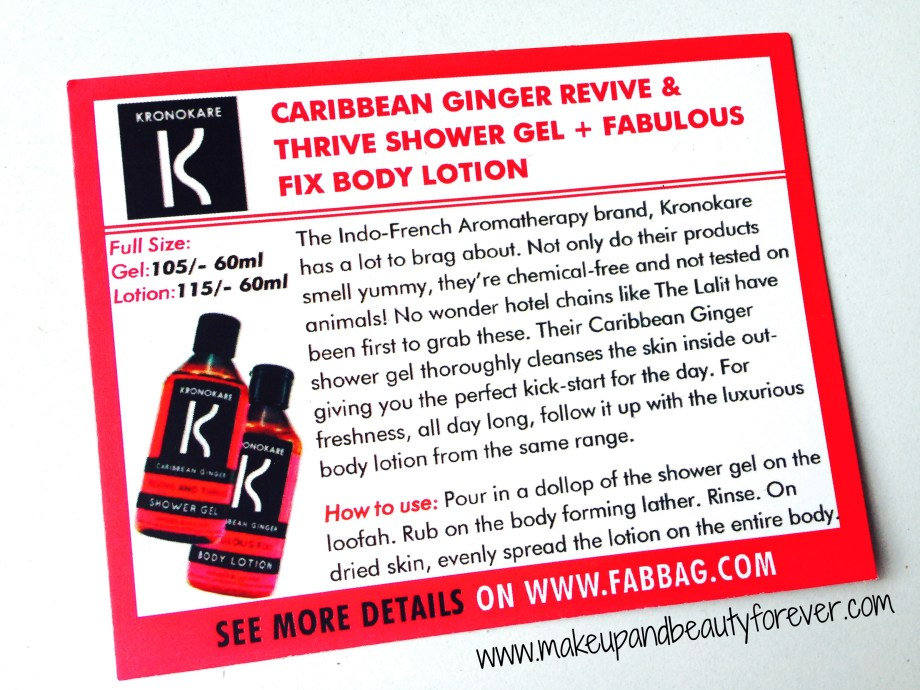 Kronokare Caribbean Ginger revive and thrive shower gel and fabulous fix body lotion