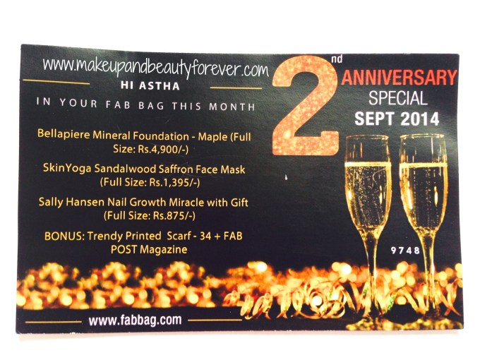 2nd Anniversary Special Fab Bag September 2014
