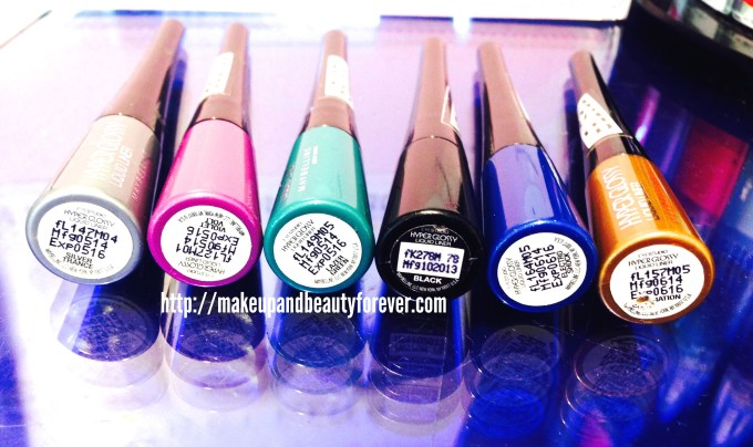 All Maybelline Hyper Glossy Electrics shimmer glitter Eyeliner Shades, Swatches, Price and Details