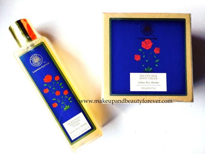 Forest Essentials Velvet Silk Body Cream Indian Rose Absolute Forest Essentials Silkening Shower Wash Indian Rose Absolute