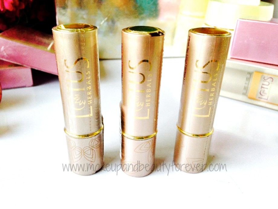 Lotus Herbals Floral Glam Lipsticks shades and swatches