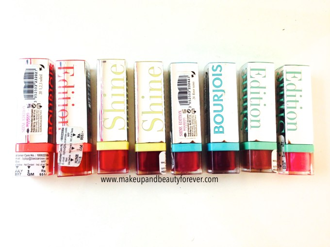 All Bourjois Shine Edition Lipsticks Shades, Swatches, Price and Details