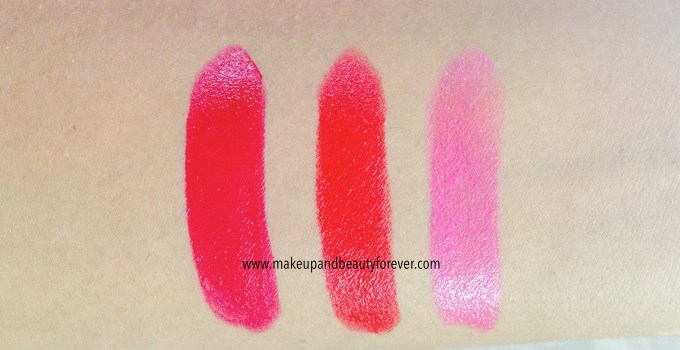 All Shades of Maybelline ColorShow Lipstick Swatch Shades, Review, Price, Details online available India Ruby Twilight 208, Red Rush 211, Plum-Tastic 402