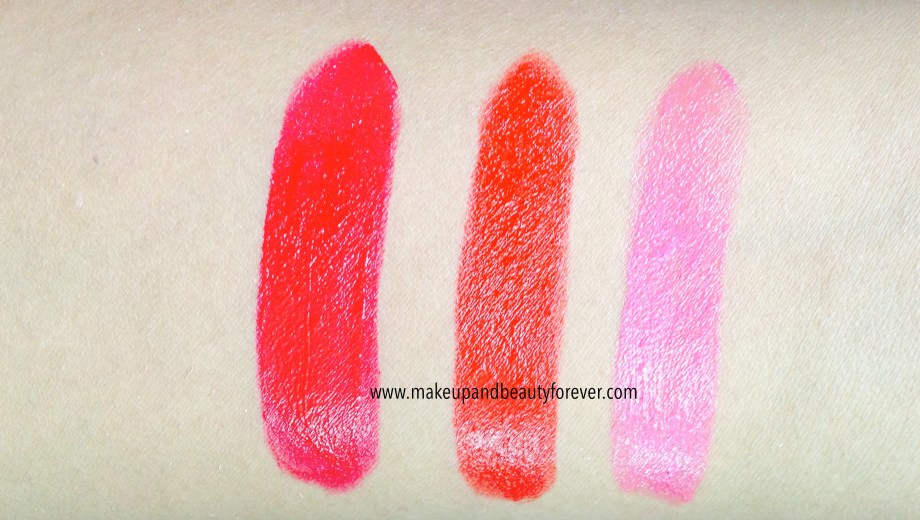 All Shades of Maybelline ColorShow Lipstick Swatches, Shades, Review, Price, Details online available LOTD India Ruby Twilight 208, Red Rush 211, Plum-Tastic 402