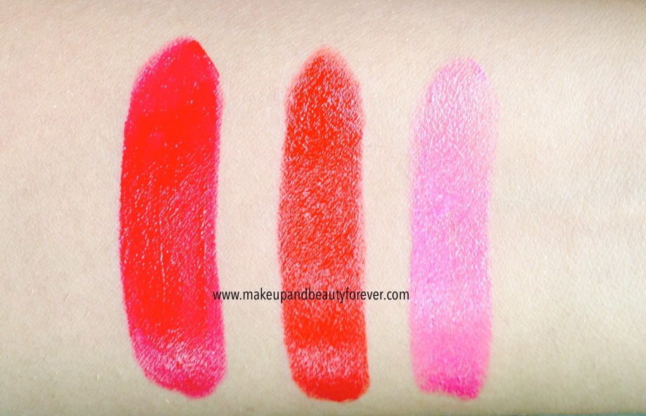 All Shades of Maybelline ColorShow Lipstick Swatches Shades Review Price and Details online available India Ruby Twilight 208, Red Rush 211, Plum-Tastic 402