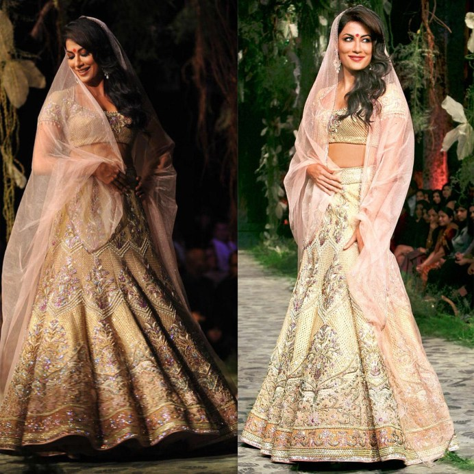Chitrangada Sen Tarun Tahiliani Bridal Lehenga Best collection White and Silver Design