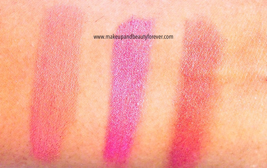 Faces Canada Glam On Cream Blush Review, Shades, Swatches Sun Kissed, Hint Of Pink, Pink Mauved, Peach Glow