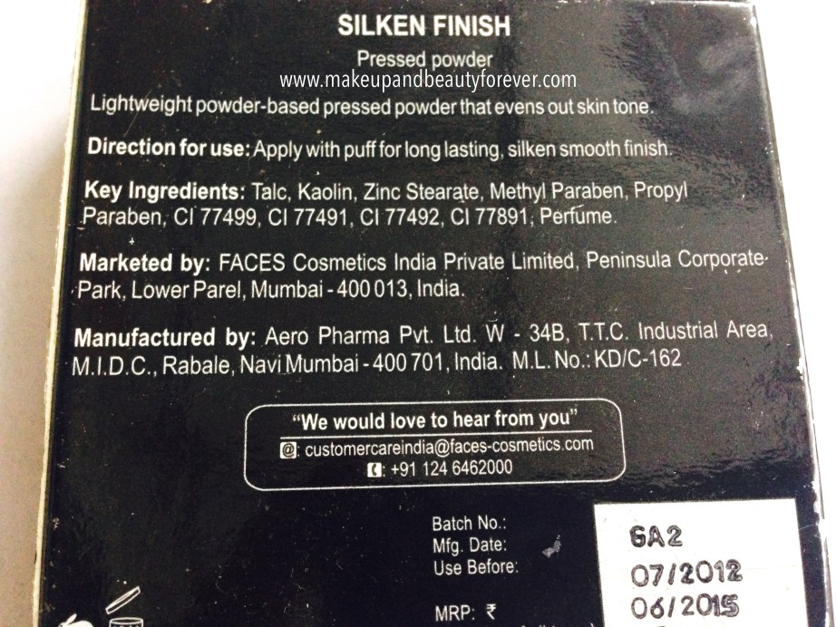 Faces Canada Silken Finish Pressed Powder Beige 03 Review India