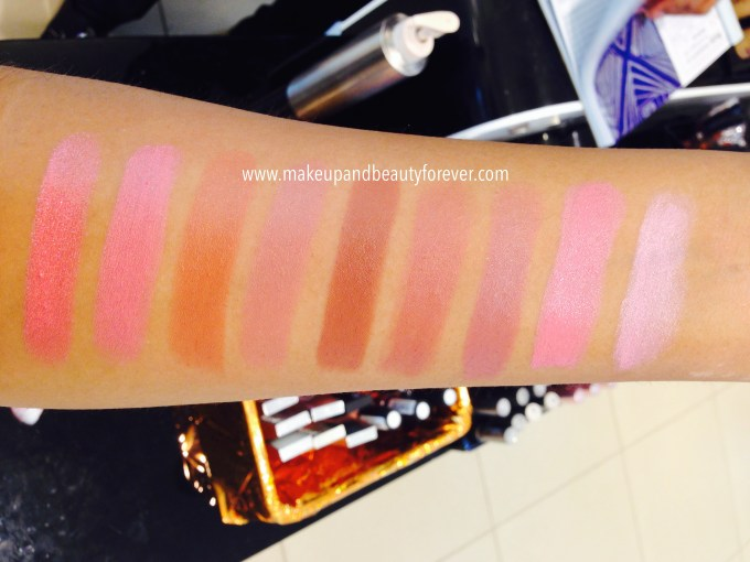 Lakme 9 to 5 Lipstick Candy Commission, Wildberry Wednesday, Oak Table, Peony Goal, Brownie Point, Rose Management, Mauve Cooler, Rosy Review, Pink Charge, Candy Closure