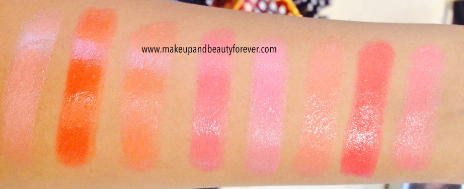 Lakme Absolute Gloss Addict Lip Color Lipstick Nude Glow, Flaming Orange, Orange Candy, Very Berry, Pink Wink, Coral Lusture, Coral Pink, Desert Rose