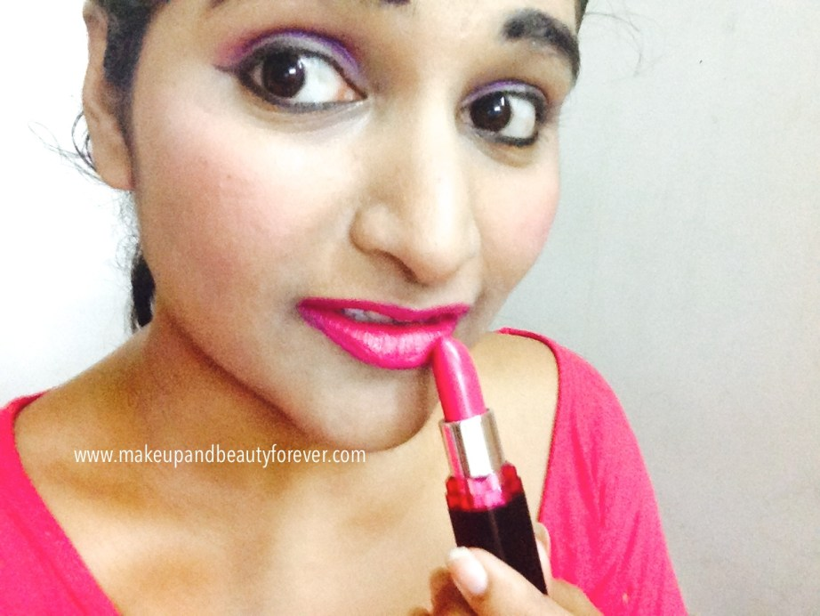 Maybelline ColorShow Lipstick Fuchsia Flare 110 Review, Swatch, Price, FOTD Astha