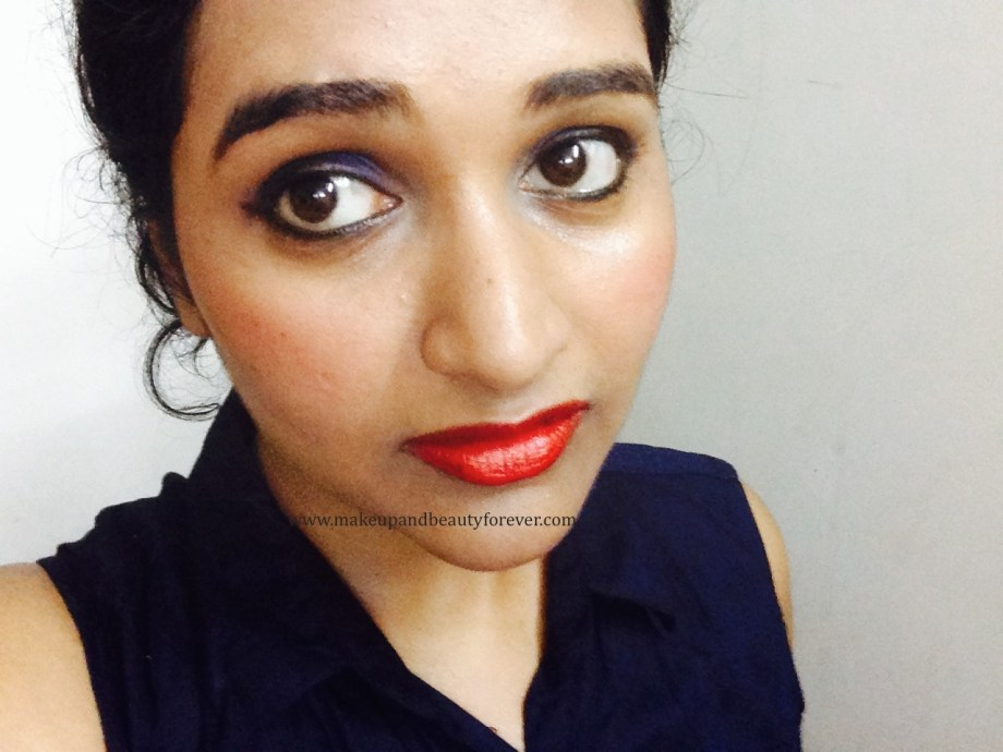 Maybelline ColorShow Lipstick Red Rush 211 Review, Swatch, Price, FOTD Picture