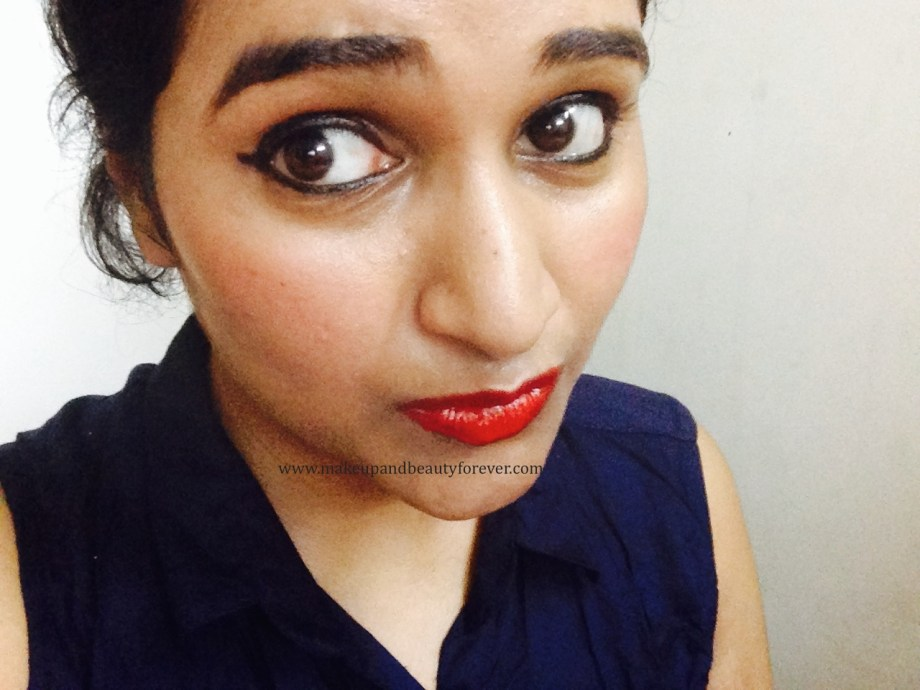 Maybelline ColorShow Lipstick Red Rush 211 Review, Swatch, Price, FOTD pout