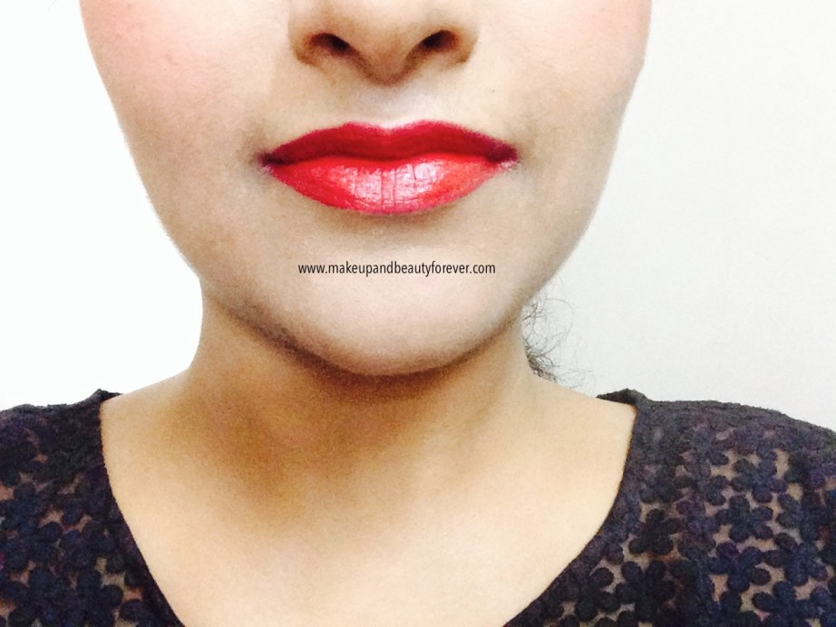Maybelline ColorShow Lipstick Ruby Twilight 208 Review, Swatch, Price, FOTD on lips