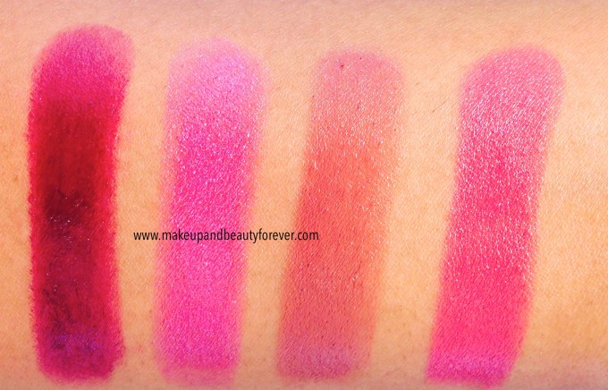 Maybelline Lipstick India Refined Wine 82, Rose Quartz 1432, Crazy for Coffee 275, Hooked On Pink 65