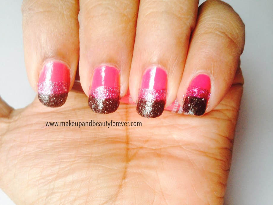 Pink and Black Glitter Festive Nail Art Tutorial 2