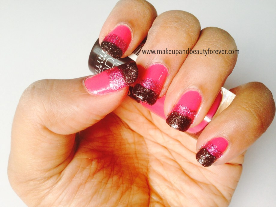Pink and Black Glitter Festive Nail Art Tutorial look