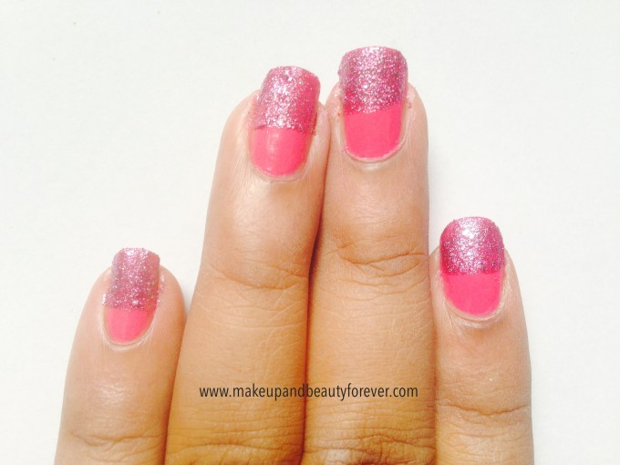 Pink and Black Glitter Festive Nail Art Tutorial maybelline colorshow fiery fuchsia and matinee mauve