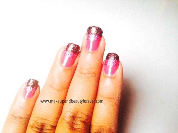 Pink and Black Glitter Festive Nail Art Tutorial steps