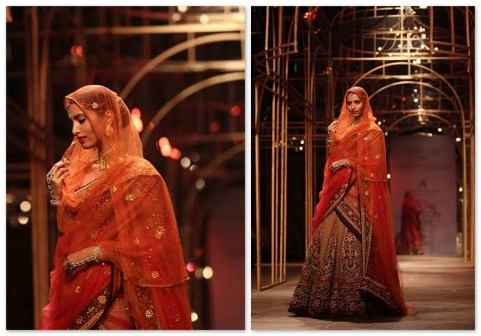 Tarun Tahiliani Rajasthani Red Orange Lehenga