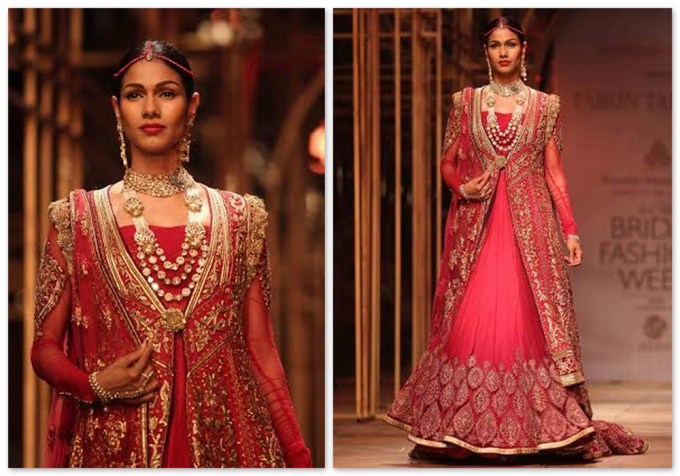 Tarun Tahiliani Red Anarkali Lehenga