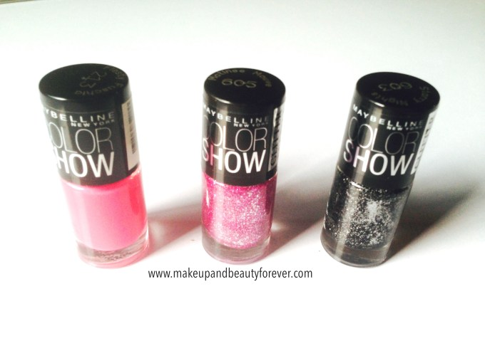 maybelline color show fiery fuchsia, matinee mauve, starry nights
