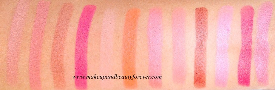 Colorbar Full Finish Long Wear Lipstick Review  Craze  Peach Peach  Rage  Spiced  Vintage