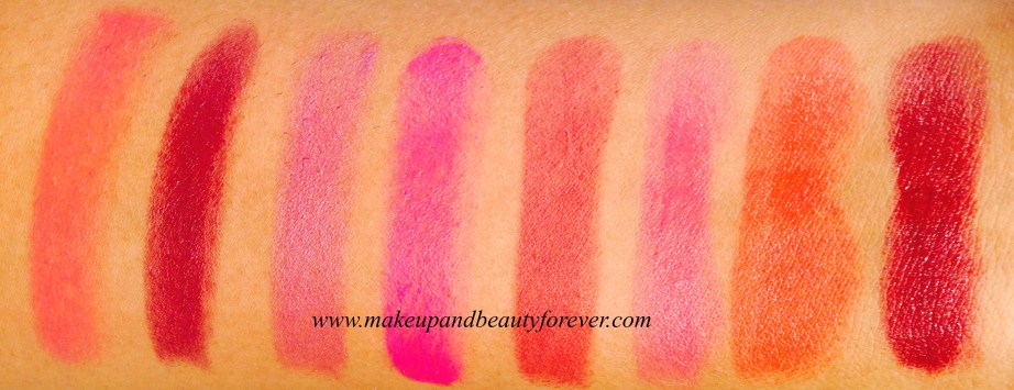 Revlon Super Lustrous Lipstick Swatches Pink Sizzle, Perfectly Plum, Ultra Violet, Fuchsia Shock, Seductive Sienna, Mad About Mauve, Kiss Me Coral, Black Cherry