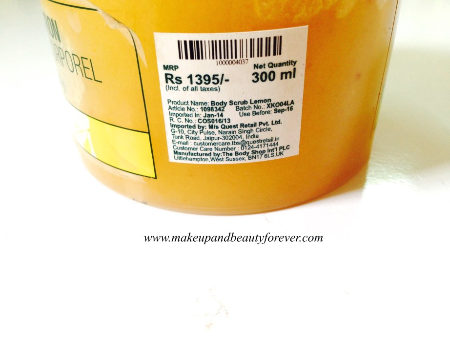 The Body Shop Sweet Lemon Body Scrub Review Price cost