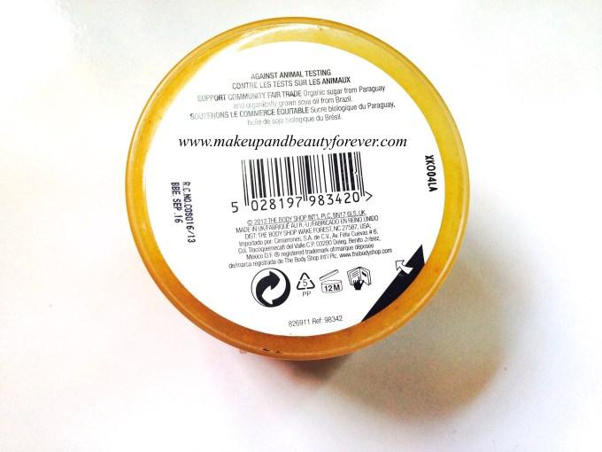 The Body Shop Sweet Lemon Body Scrub Review bottom label
