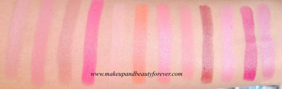 colorbar  Innocently Brown  Wicked Brown  Rare Truffle  En Vogue  Tempt Me  Plum Show  Kiss Me  Keep Blushing  Plum Dressing  Coco Liscious  Get Ready  Tangy Pink  Pure Maroon  British Brown  Craze  Peach Peach  Rage  Spiced  Vintage