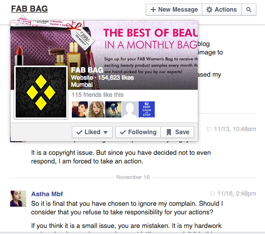 Fab Bag November 2014 and my Overall Bad experience with Fab Bag Team 3