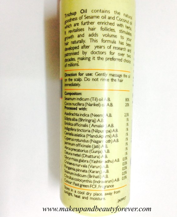 Trichup Healthy Long and Strong Hair Oil Review Ingredients