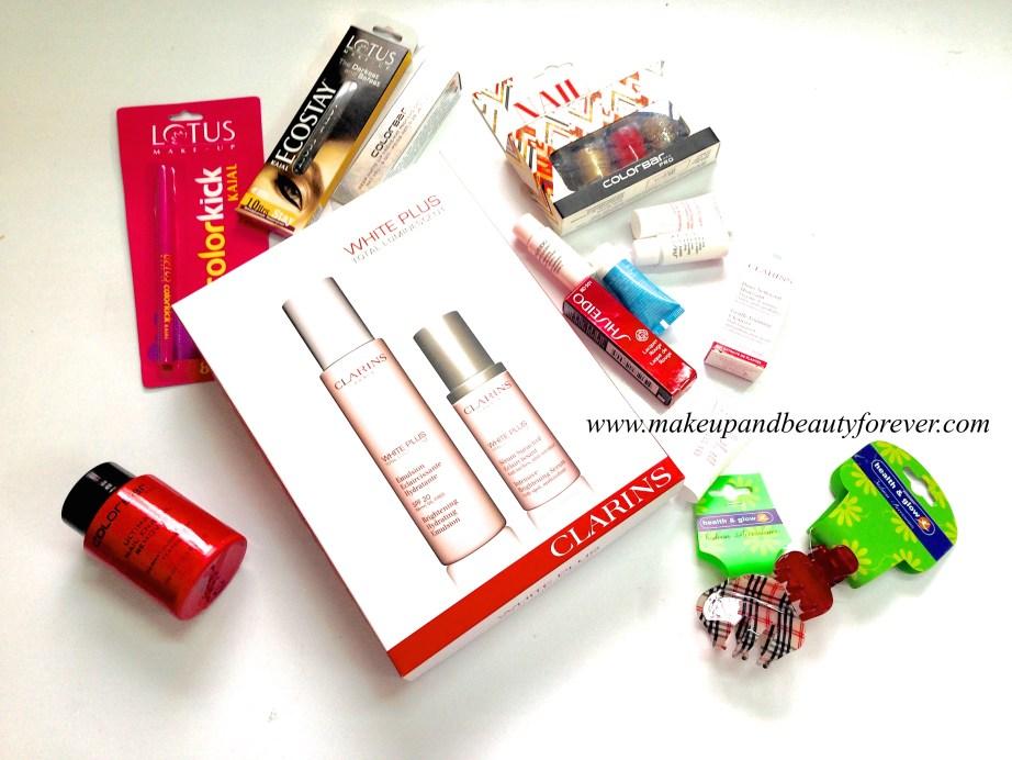 Clarins White Plus range, Shiseido lipstick, Lotus new kajal, colorbar nail polish remover