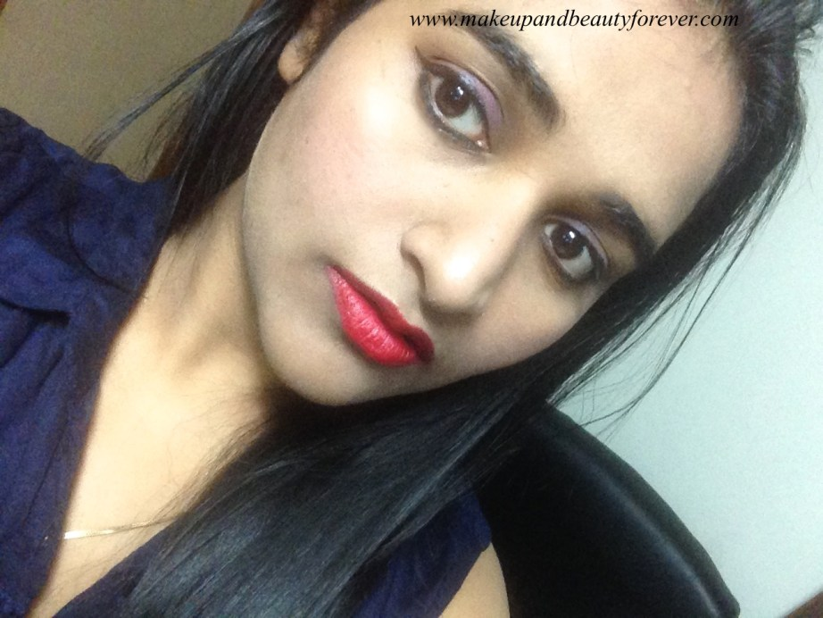 Colorbar Velvet Matte Lipstick 83 V All Fired Up 1 Review FOTD Astha Goel MBF