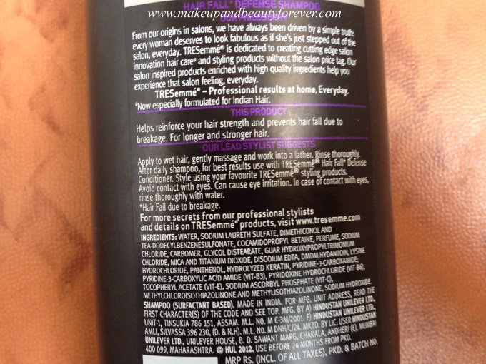 Tresemme Hair Fall Defence Control Shampoo Review MBF India