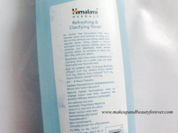 Himalaya Herbals Refreshing and Clarifying Toner Review 4