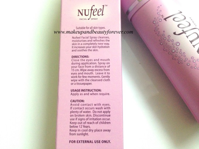 Nufeel Facial Spray for Women Review 2