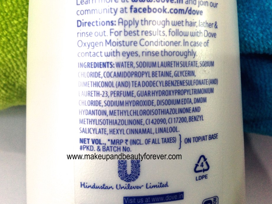 Dove Oxygen Moisture Shampoo ingredients