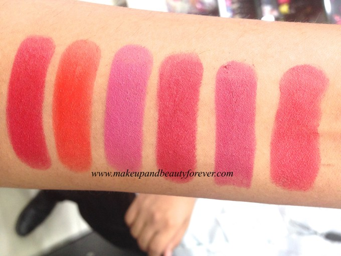 Lakme Absolute Matte Burgundy Affair, Coco Shot, Coral Flare, Crimson Touch, Maroon Magic, Peach Out, Pink Glam, Pink me up, Red flames, Red rush, Rose bloom MBF
