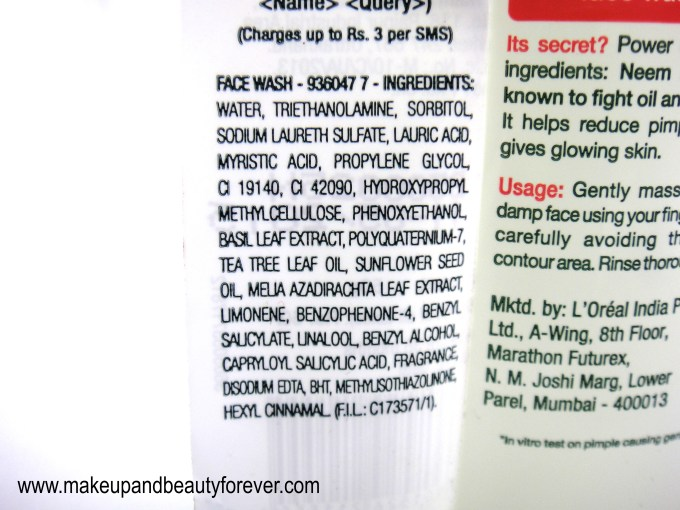 Garnier Pure Active Neem and Tulsi High Foaming Face Wash Ingredients