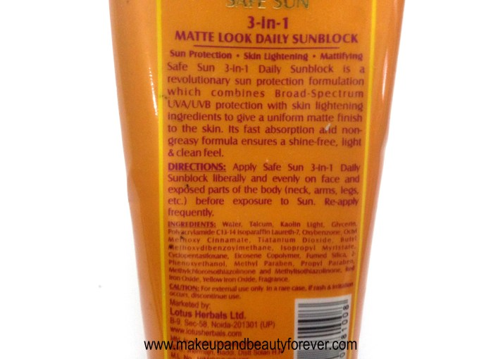Lotus Herbals 3 in 1 Matte Look Daily Sunblock SPF 40 Review MBF India