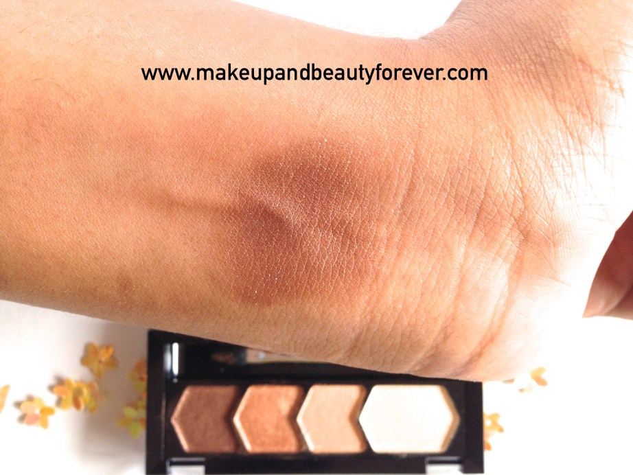 Maybelline Eyestudio Diamond Glow Eye Shadow Quad 01 Copper Brown Review Swatches Price Details Astha MBF