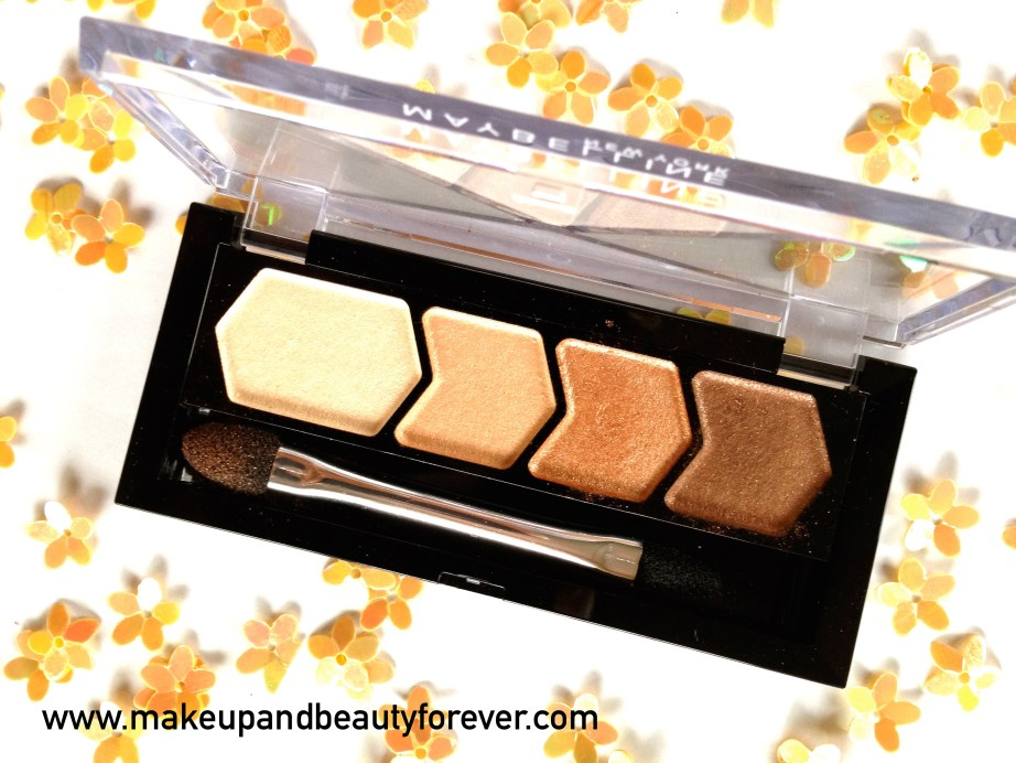 Maybelline Eyestudio Diamond Glow Eye Shadow Quad 01 Copper Brown Review Swatches Price Details makeup blog